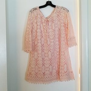 Monoreno light pink lace dress w camisole